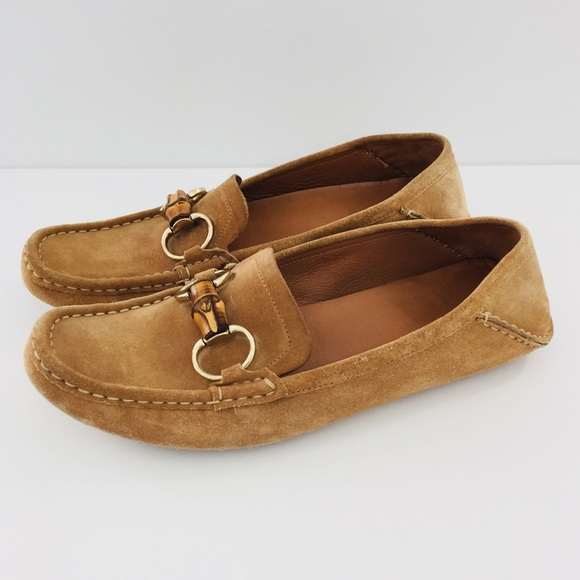Gucci Womens Tan Suede Bamboo Driving